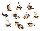 picture of food logo  - Ten different espresso coffee cups for fast food design - JPG