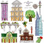 City houses and street desing element set