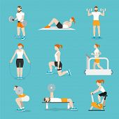 picture of exercise bike  - People training exercise bikes and cardio fitness treadmills with bench press icons collection flat isolated vector illustration - JPG