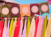 picture of swag  - Colourful festive swag banner with ribbons for party decoration - JPG