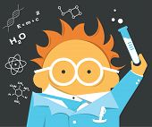 picture of mad scientist  - Crazy scientist in glasses with a bulb or test - JPG