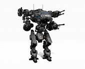 stock photo of robotics  - 3d render of a police robot mech - JPG
