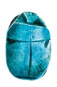 foto of talisman  - an egyptian scarab talisman isolated over a pure white background - JPG