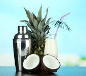 foto of pina-colada  - Pina colada drink in cocktail glass and metal shaker - JPG