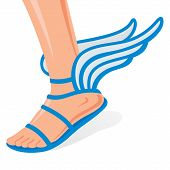 picture of webbed feet white  - Winged sandals for men leg on a white background - JPG