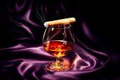 stock photo of cigar  - Cognac and Cigar - JPG