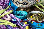 foto of mischief  - Turkish national traditional gifts on the background fabric patterns - JPG