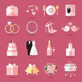 picture of pink shoes  - Set of wedding icons in flat style with an invitation or love letter  music  food  champagne  bride and groom  cake  gift  church  rings  jewellery  shoes  birds  bells  bouquet and bridal car in pink - JPG