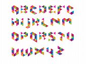 stock photo of prism  - Colourful Prism Font triangle shape in vector format - JPG