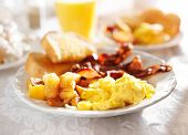 picture of scrambled eggs  - full breakfast with scrambled eggs - JPG