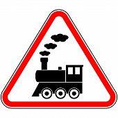 image of locomotive  - Locomotive icon on white background - JPG