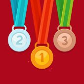 foto of medal  - Vector three winning places concept  - JPG