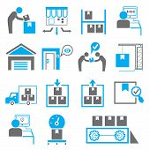 stock photo of manufacturing  - set of 16 shipping icons - JPG