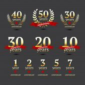 stock photo of 50s 60s  - Set of anniversary golden signs - JPG