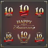 picture of ten  - Vector illustration with ten years anniversary signs - JPG