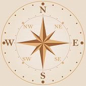 picture of wind-rose  - Wind rose compass vintage classic style vector design template - JPG