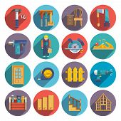 pic of carpentry  - Carpentry industry equipment icons flat set with toolbox furniture wood fence isolated vector illustration - JPG