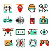 stock photo of drone  - Drones and quadrocopters unmanned innovation flying vehicles icon set isolated vector illustration - JPG