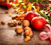 foto of hazelnut tree  - Xmas holiday table setting - JPG