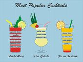 image of pina-colada  - Vector popular cocktails  - JPG