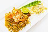 stock photo of egg noodles  - thai stir fried noodles with shrimp and egg - JPG