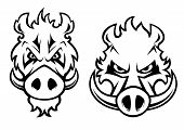stock photo of wild hog  - Wild boar heads with aggressive grin and big fangs isolated on white background for logo - JPG