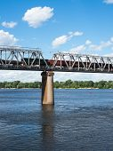 pic of railcar  - One of the piers supporting the railroad bridge across the Dnieper in Kyiv - JPG