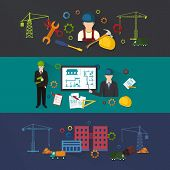 foto of engineering construction  - Engineer construction industrial factory manufacturing workers flat banner set isolated vector illustration - JPG