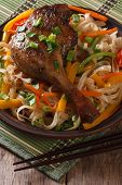 stock photo of roast duck  - Roasted duck leg with rice noodles and vegetables on a plate close - JPG