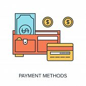 image of payment methods  - Vector illustration of payment methods flat line design concept - JPG
