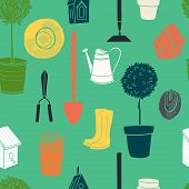 foto of flower pot  - Garden seamless pattern with watering can spade rubber boots olive tree birdhouse hat tree in a pot and spring flowers - JPG