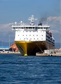 stock photo of leghorn  - Prow view italian ferry moored in Leghorn