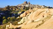 picture of chimney rock  - Landscape with ruins of the Uchisar castle Cappadocia in Turkey - JPG