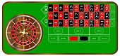 pic of roulette table  - A typical American roulette table layout over a white background - JPG