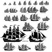 foto of sailing-ship  - Vector ships set with separate editable elements - JPG