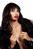 foto of skinny  - Skinny African American Woman Open Jacket Topless - JPG