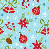 pic of christmas bells  - Colorful Christmas seamless pattern with flowers - JPG
