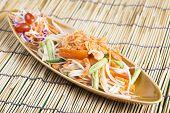 stock photo of green papaya salad  - Thai Papaya salad topping with dry shrimp  - JPG