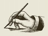 stock photo of writing  - vintage writing hand with pen - JPG