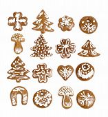stock photo of ginger bread  - homemade christmas ginger breads on white background - JPG