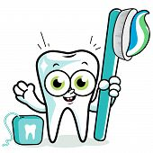 foto of cartoon character  - Tooth cartoon character holding toothbrush and dental floss - JPG