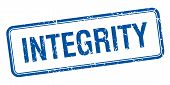 stock photo of integrity  - integrity blue square grungy vintage isolated stamp - JPG