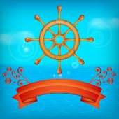 picture of ship steering wheel  - Background with steering wheel for ship - JPG