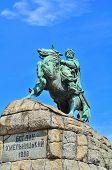 stock photo of bohdan  - Famous monument of Bogdan Khmelnytsky in Kiev Ukraine - JPG