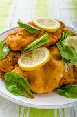 pic of veal  - Fried veal fillet with arugula lemon and spinach - JPG