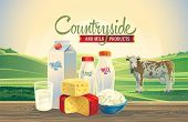 picture of milk products  - Rural landscape with a cow - JPG
