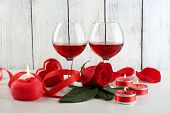 image of glass heart  - Composition with red wine in glass - JPG