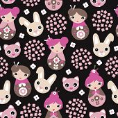 picture of geisha  - Seamless kids cherry blossom geisha girls and Japanese cat and bunny animals illustration pattern in vector - JPG