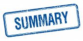pic of summary  - summary blue square grungy vintage isolated stamp - JPG