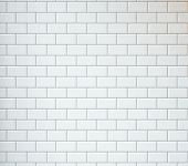 picture of wall-stone  - White wall with Vintage Tiles and spotlight - JPG